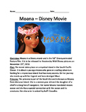 Moana - Disney movie - information lesson facts questions plot word search