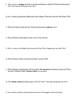 Moana Film (2016) Study Guide Movie Packet