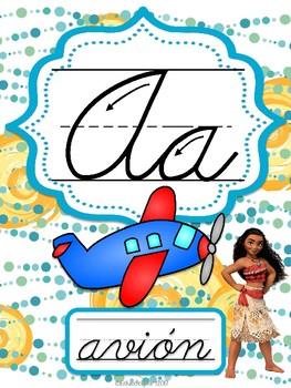 Moana - abecedario cursivo