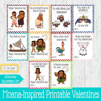 Moana inspired printable valentines, instant download, printable valentines