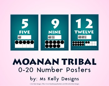 Moana n Tribal 0-20 Number Posters