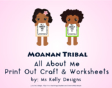 Moana n Tribal All About Me Print Out Craft and Worksheets