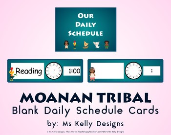 Moana n Tribal Blank Daily Schedule Cards