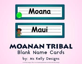 Moana n Tribal Blank Name Cards
