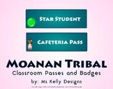 Moana n Tribal Classroom Passes and Badges