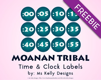 Moana n Tribal Time and Clock Labels