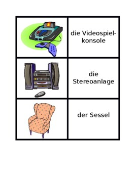 Möbel (Furniture in German) Concentration games