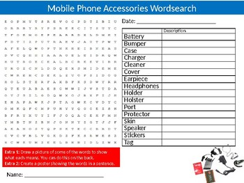 Mobile Phone Accessories Wordsearch Puzzle Sheet Keywords Communication