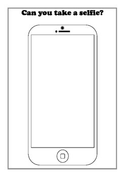 Mobile phone outline sheet for drawing 'selfie' themed sel
