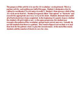 Mobili (Furniture in Italian) Grid vocabulary activity