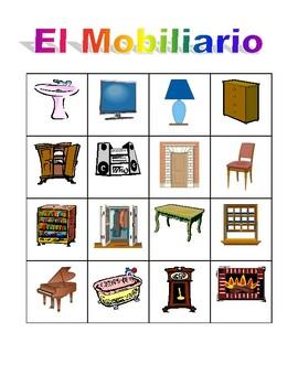 Mobiliario (Furniture in Spanish) Bingo game