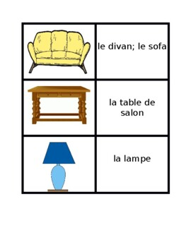 Mobilier (Furniture in French) Meubles Concentration games
