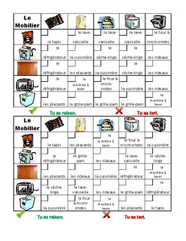 Meubles (Furniture in French) Grid vocabulary activity