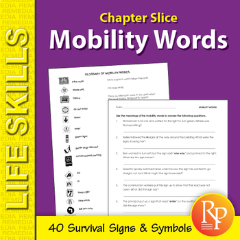Mobility Words Unit: Survival Signs & Symbols Vocabulary