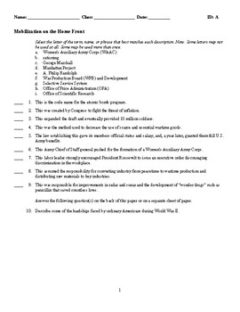 Mobilization on the Home Front - (Quiz or Study Guide)