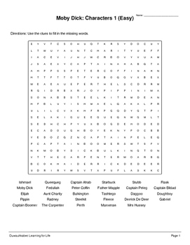 Moby Dick: Characters (Worksheets)