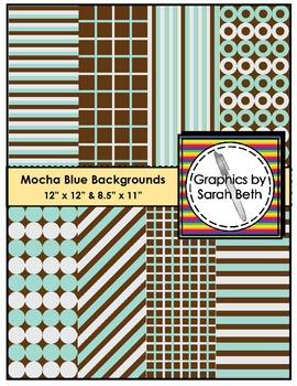 Mocha Blue Backgrounds - Clipart - Graphics