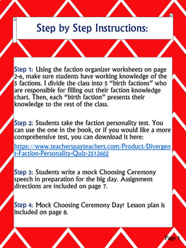 Divergent Mock Choosing Ceremony - Lesson Plans and Materials