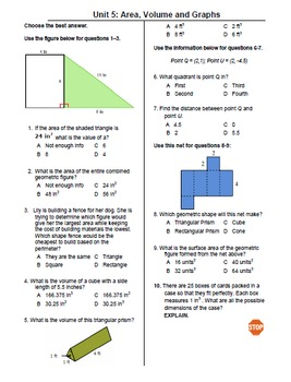 6th Grade Mock Georgia Milestones Gse Math Practice Test Bundle