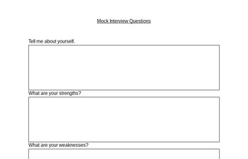 Mock Interview Questions - Geared Towards High School Students