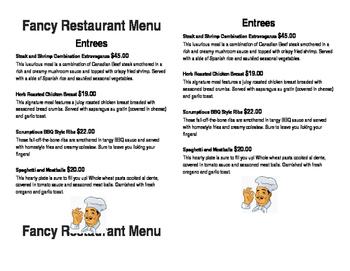 Mock Restaurant Menu