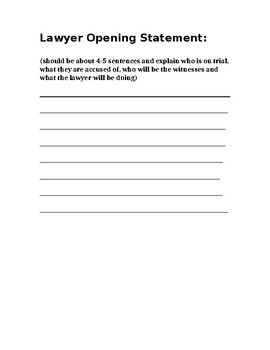 Mock Trial: Lawyer Opening Statement Worksheet