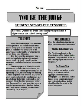 Mock Trial: School Newspaper is Censored by Principal