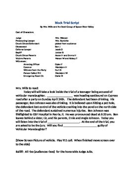 Mock Trial Script against Teen Drinking