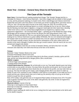 "Mock Trial ""The Tornado"" (A murder trial based upon Rubin Carter)"