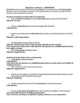 Mock Trials - Objections Worksheet