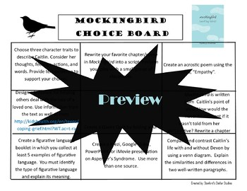 Mockingbird Choice Board Menu Novel Study Activities Book Project Tic Tac Toe