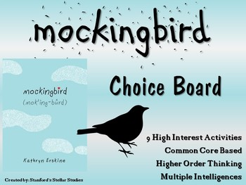 Mockingbird Choice Board Menu Novel Study Activities Book