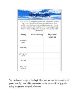Mockingbird by Kathryn Erskine Active Listening Journal