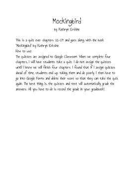 Mockingbird by Kathryn Erskine Ch. 21-24 Quiz