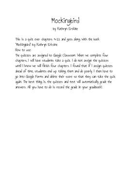 Mockingbird by Kathryn Erskine Ch. 9-12 Quiz