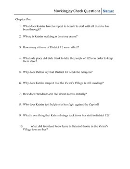 Mockingjay Comprehension Study Guide & prompts