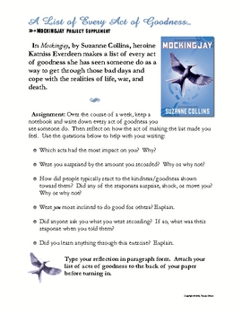 Acts of Goodness Challenge Free Mockingjay Hunger Games #kindnessnation
