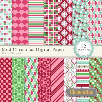 Mod Christmas digital paper 12x12, digital scrapbooking paper