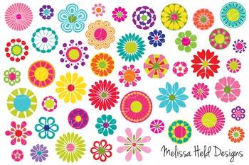 Clipart:  Mod Flowers Clip Art
