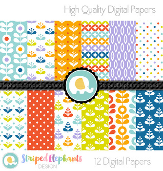 Mod Flowers Digital Papers