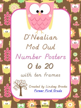 Owl D'Nealian Number Posters (0 to 20) with Ten Frames