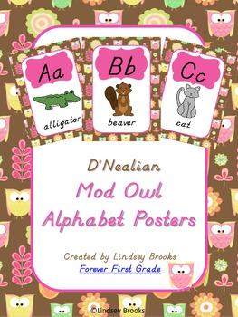 Owl Themed D'Nealian Alphabet Posters