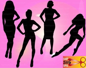 Moda Fashion Woman model vinyl EPS SVG DXF school cutting cut Logo monogram -21S