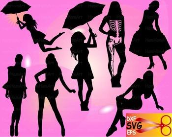 Moda Fashion Woman model vinyl EPS SVG DXF school cutting