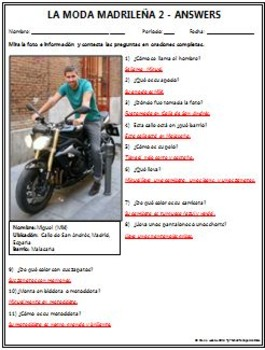 Spanish 1 - Moda Madrilena 2 (Madrid Fashion) - Original Photo and Questions