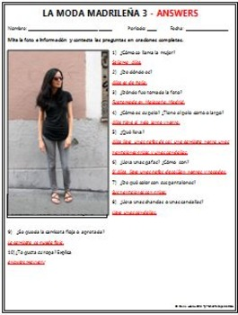 Spanish 1 - Moda Madrilena 3 (Madrid Fashion) - Original Photo and Questions