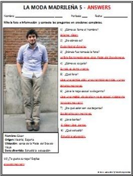 Spanish 1 - Moda Madrilena 5 (Madrid Fashion) - Original Photo and Questions