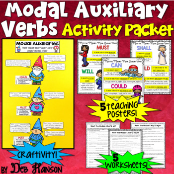Modal Auxiliaries: Worksheets, Craftivity, & Posters