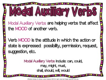 Modal Auxiliary Verb Task Cards {CCSS L.4.1.C}