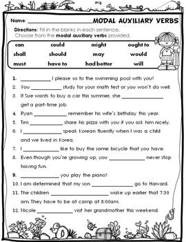 Modal Auxiliary Verbs L.4.1.C